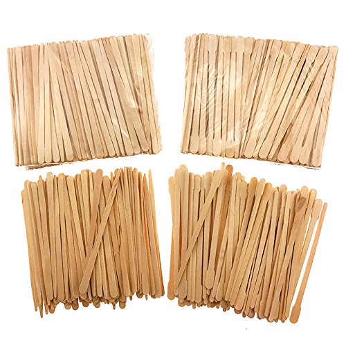 Akusety 600 Pieces Small Wax Applicator Sticks Wood Spatulas Applicator for Hair Eyebrow Removal(2 Style)