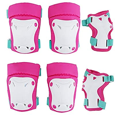 Outdoor Sports Protective Gear Set Boys Girls Cycling Safety Pads Set and Wrist Guards for Skateboard Bicycle Outdoor Protector (Color : Pink, Size : S): Home & Kitchen