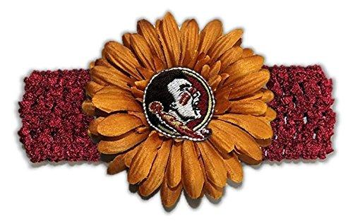 eminoles Girls Crochet Flower Headband, One Size, Garnet/Old Gold (Gold Seminole Head)