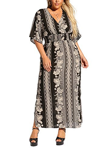 Print Dress Size Plus Black Womens Floral Maxi Debshops Multi Smocked qFPvXa