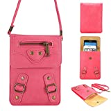 Universal Fashion Spikes Dual Layers Soft PU Leather Cell Phone Bag Purse Case with Shoulder Strap Cross Body Wallet Pouch for Carrying iPhone6s/6s plus/6/6 Plus and Samsung Series Mobile (Pink)