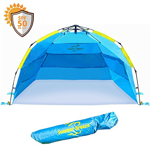 Summer Breeze Quick & Easy Pop Up Beach Tent – Superior Family Privacy, Fun and Sun Protection With Hard-wearing Upgraded Fabric And Heat Venting For Super Comfort