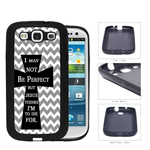 Not Perfect Bible Quote Black Cross GREY Chevron Samsung Galaxy S3 I9300 Rubber Silicone TPU Cell Phone Case ()