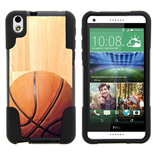 TurtleArmor | HTC Desire 816 Case | Desire 8 Case [Gel Max] Hybrid Impact Proof Kickstand Case Silicone Hard Dual Cover Sports and Games Design - Hardwood Basketball