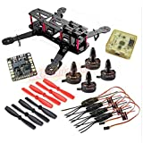 Hobbypower Carbon 250mm Mini Quadcopter Frame with X2204S 2300KV Motor + Simonk 12A ESC + CC3D Flight Controller +5045 Props for QAV250 Quadcopter H250 Mini Drone