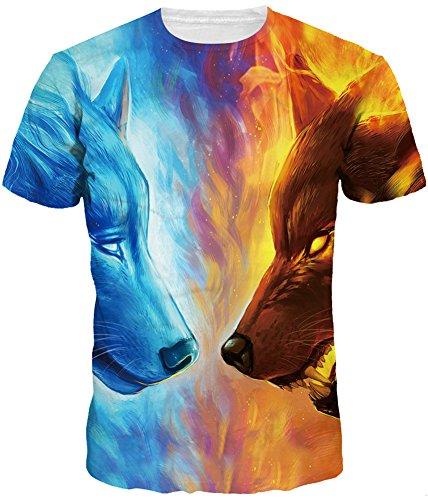 Pandolah Unisex 3D Printed Casual Summer Short Sleeve T-Shirts Tees (L/XL, Fire&Ice (Fire Short Sleeve T-shirt)