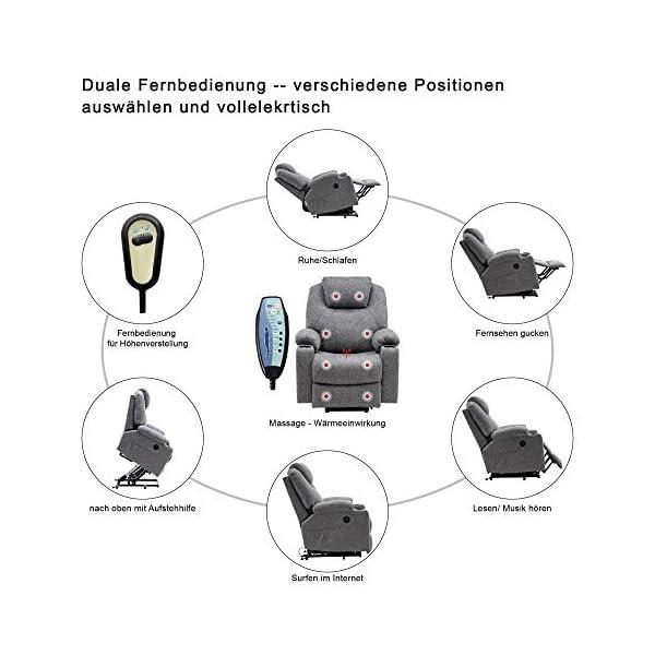 MCombo Fauteuil de relaxation électrique réglable avec port USB Gris