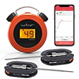 remote bbq thermometer iphone - Smart Bluetooth BBQ Grill Thermometer - Digital Display, Stainless Dual Probes Safe to Leave in Outdoor Barbecue Meat Smoker - Wireless Remote Alert iOS Android Phone WiFi App - NutriChef PWIRBBQ60