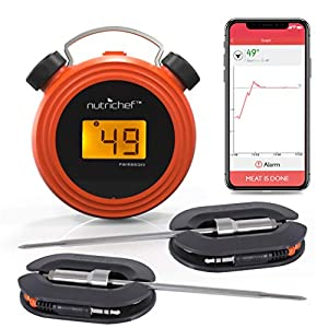Smart Bluetooth BBQ Grill Thermometer – Digital Display, Stainless Dual Probes Safe to Leave in Outdoor Barbecue Meat Smoker – Wireless Remote Alert iOS Android Phone WiFi App – NutriChef PWIRBBQ60