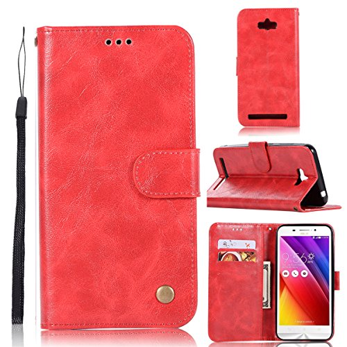 Wallet Flip Leather Case Cover For Asus Zenfone Max ZC550KL (Red) - 9