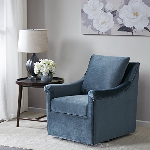 Swivel Chair Deanna/Blue Velvet Fabric Upholstered Swivel Chair