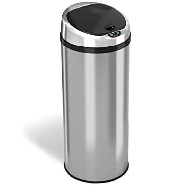 iTouchless Automatic Touchless Sensor Kitchen Trash Can - Stainless Steel – 13 Gallon – Round Shape