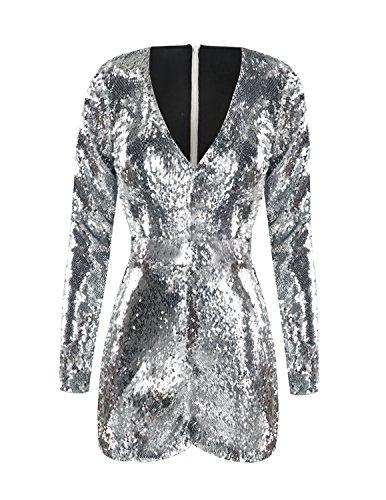 HaoDuoYi Women's New Year's Sparkly Sequin V Neck Party Clubwear Romper - Silver Womens Suit
