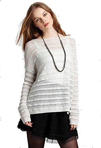 Theory Ameline Loryelle Wool Ribbed Striped Sweater, ICY Ecru - Size Medium (Theory Striped Sweater)