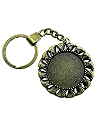 WYSIWYG 3 Pieces Key Chain Women Key Rings Fashion Keychains For Men Retro Small Grass Single Side One Hanging Inner Size 30mm Round Cabochon Cameo Base Tray Bezel Blank