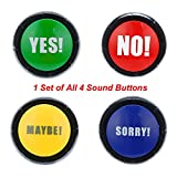 Gbell Yes No Sorry Maybe Button Sound Button - Gag Toy Prank Party Tool for Kids Adults - Red Green Yellow Blue (4 PC)