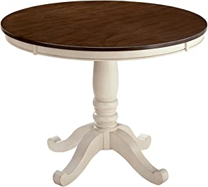 Ashley Furniture Signature Design - Whitesburg Dining Room Table - Round White & Brown Table