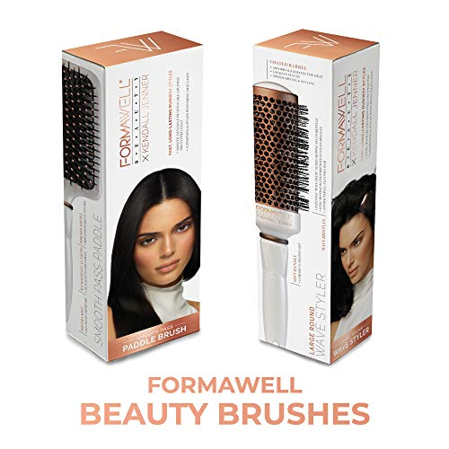 Formawell Beauty x Kendall Jenner Smooth Pass Paddle Hair Brush | Smoothes, Detangles & Styles | Copper-Tourmaline Infused Nylon Bristles Improve Hair Condition & Shine | Comfort Cushioned Grip