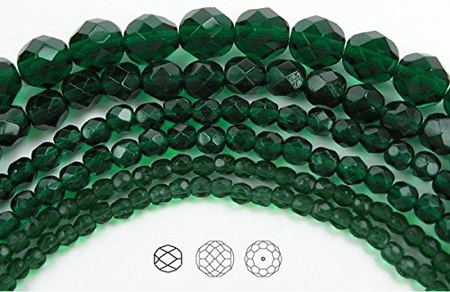 8mm (153 beads) Medium Emerald, Czech Fire Polished Round Faceted Glass Beads, 3x16 inch strand - 8mm Czech Glass Pearls Beads
