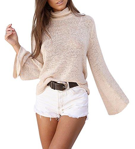 Roul Manches Col Sweater T Shirt Nu Fashion Automne Pullover Jumper Longues Bandage Haut Printemps et Tricots Chandail Tops Kaki Pulls Femmes Dos vxYtW0Uq