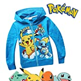 Pokemon Long Sleeve Front Zip Hoodie Sweater Jacket Coat (5-6 sz 120, Blue)