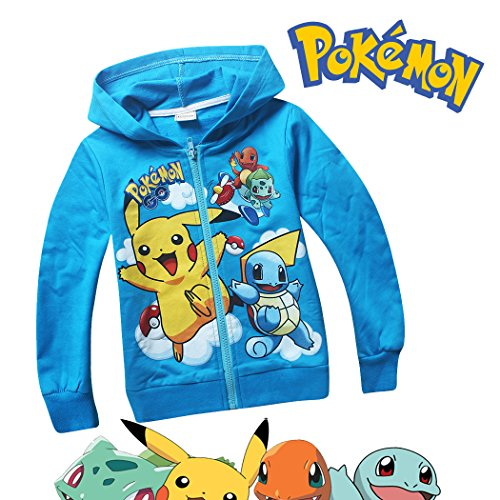 Pokemon Long Sleeve Front Zip Hoodie Sweater Jacket Coat (4-5 sz 110, Blue) - Squirtle Hoodie