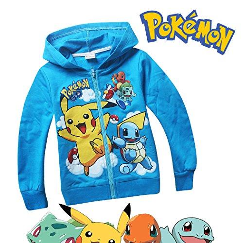 Pokemon Long Sleeve Front Zip Hoodie Sweater Jacket Coat (7-8 sz 130, Blue)