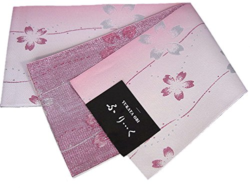 即席肉腫ブランド着物美人 女性用 浴衣帯 半幅帯 細帯 日本製 浴衣用 【 ピンク ラメ 桜 】a461753-3E
