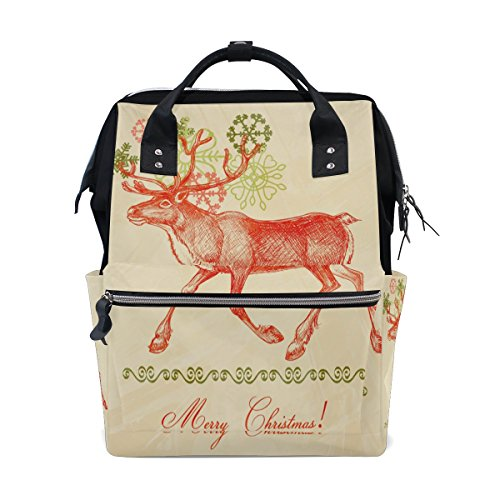 Diaper Bags Backpack Purse Mummy Backpack Fashion Mummy Maternity Nappy Bag Cool Cute Travel Backpack Laptop Backpack with Christmas Moose Pattern Daypack for Women Girls Kids by THENAGD