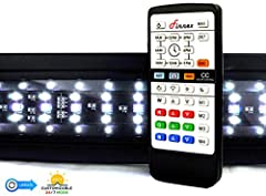 The Finnex Planted+ 24/7 version 2 LED Fixture allows a hands free simulated sunrise & Sunset to take effect atop user's aquariums. Version to incorporates the added benefit of being able to save custom colors and intensities in to those ...