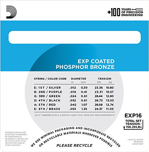 D'Addario EXP16 with NY Steel Phosphor Bronze Acoustic Guitar Strings, Coated, Light, 12-53 by D'Addario (Image #2)