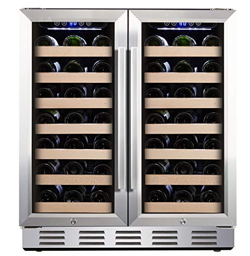 Kalamera 30'' Wine Cooler 66 Bottle Dual Zone Built-in and Freestanding with Stainless Steel and Glass French-Door Style ()