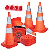 "Product review for Reliancer 4PC 27.6"" Collapsible Traffic Cones with Nighttime LED Lights Pop up Safety Road Parking Cones Weighted Hazard Cones Construction cones Fluorescent Orange w/2 Reflective Silver Strips Collar"