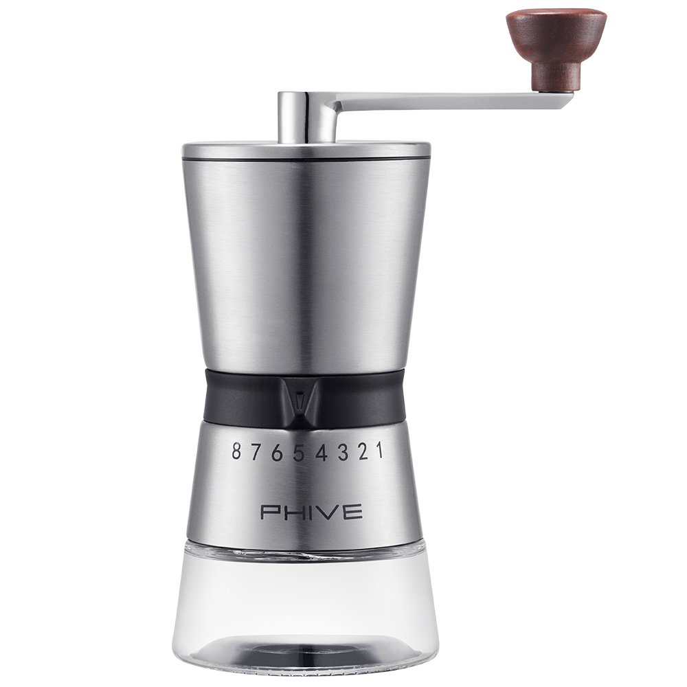 PHIVE Manual Coffee Grinder, Stainless Steel Ceramic Conical Burr Mill, 15 Coarseness Settings for Precision Brewing,Quiet and Portable