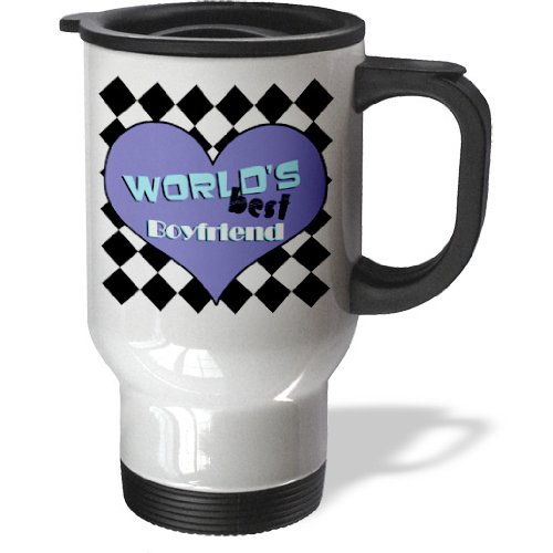 3dRose Worlds Best Boyfriend Travel Mug, 14-Ounce, Stainless Steel