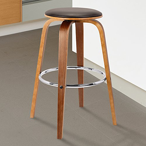 Armen Living Harbor Mid-Century Swivel Bar Height Backless Barstool, 30 , Brown
