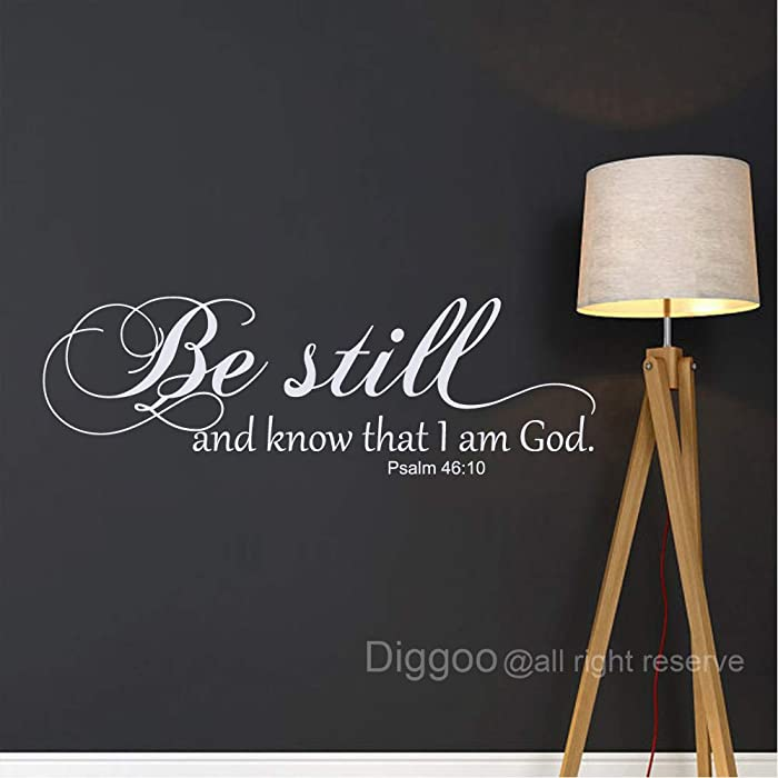 Be Still and Know That I am God Psalm 46:10 Wall Decal Scripture Wall Decal Bible Verse Quote Religious Wall Decor for Living Room (White,10