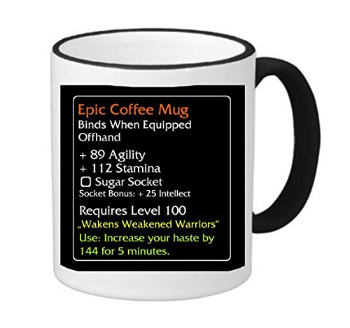 Epic Coffee Mug Design 11 ounce Black Rim/Handle Ringer Ceramic Coffee Mug Tea Cup by MWCustoms
