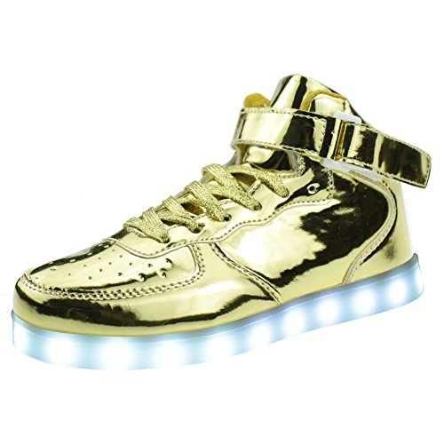 SENFI Upgraded LED Light Shoes High Top Sneaker For Men/Women,LK18,Gold,41 (Cool High Tops Shoes)