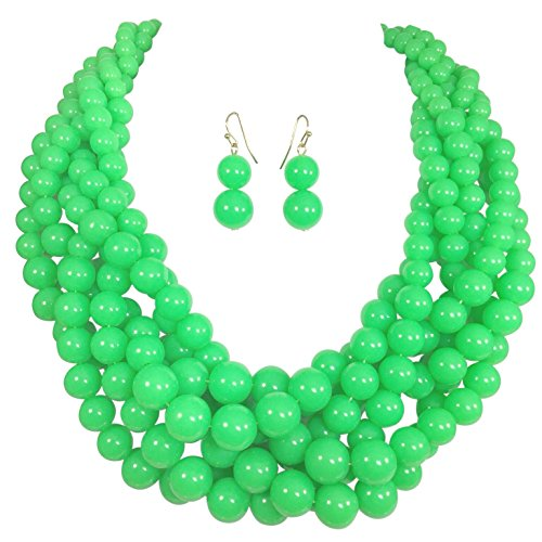 - Gypsy Jewels Braided Multi Strand Beaded Statement Necklace & Earrings Set (Neon Green)