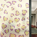 APSOONSELL Non Adhesive Static Decorative Privacy Window Films, Removable Heat Control Anti UV Glass Door Film 22.8in. By 70.8in. (58 x 180CM), Heart-Shaped Spots