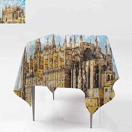 AndyTours Waterproof Table Cover,Gothic,Big Gothic Building Sea Shore Cathedral of Palma De Mallorca View from Road,Dinner Picnic Table Cloth Home Decoration,54x54 Inch Cream Blue White
