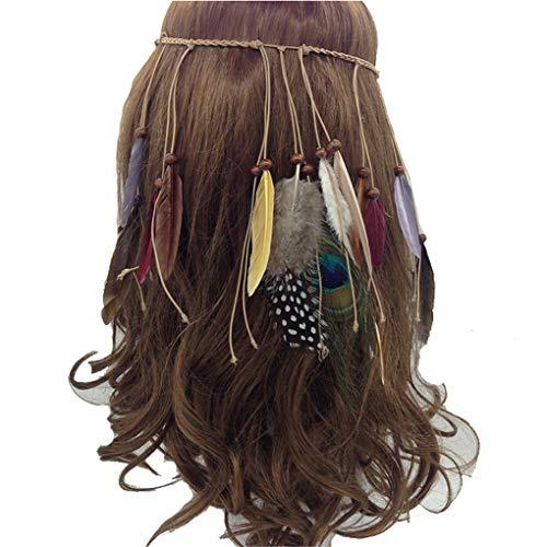 Peacock Feather Leaf Tassels Hemp Rope Braided Hippie