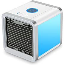 Urhomepro Personal Space Air Cooler, 3 in 1 USB Mini Portable Air Conditioner, Humidifier, Purifier and 7 Colors Nightstand, Desktop Cooling Fan for Office Home Outdoor Travel