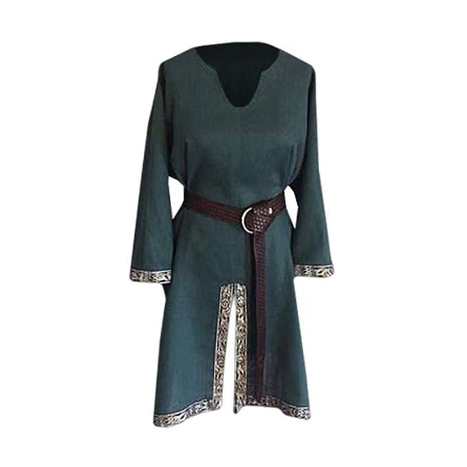 Disfraz Medieval para Hombre Vikingos Vintage Túnica Tops Disfraz ...