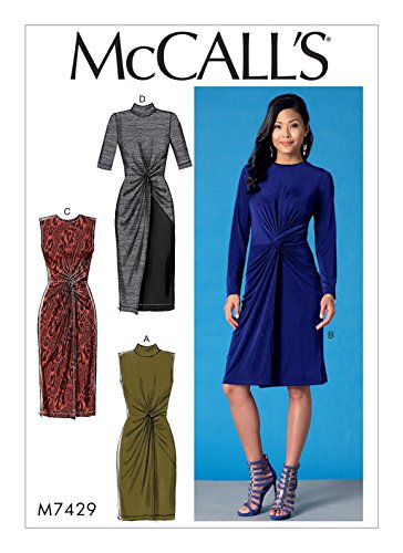 MCCALLS M7429 (SIZE 6-14) Misses' Twist-Front Dresses SEWING PATTERN (Dress Pattern Front)