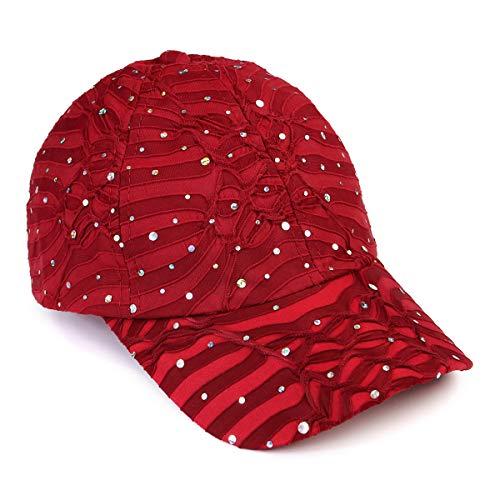 (Casual Sparkly Sequin Glitter Baseball Hat - Adjustable Sun Visor Cap Embellished Fabric/Two-Tone Mesh Back (Burgundy))