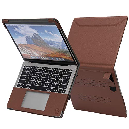 TYTX MacBook Air Leather Case with Vents and Stand Function 13 Inch 2020 2019 2018 (A2337 A2179 A1932) (Brown)