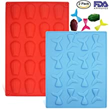 2 Pack Seashell Silicone Mold Mermaid Tail Mould, DanziX Ice Cube Trays, Baking Pan Tools for Decorating Chocolates, Cakes, Candy, Ice, Soaps ( Blue + Red )