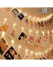 Anpro 50 LED con Mollette per Foto Striscia Luci Portafoto con 8 Modalità di Illuminazione Regolabile con Telocomando Catena Luminosa per Decorazione Camere Festa di Matrimonio Compleanno